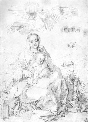 Albrecht Durer - Madonna and child on the grassy bank 2