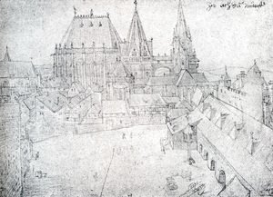 Albrecht Durer - The Cathedral Of Aix La Chapelle With Its Surroundings  Seen From The Coronation Hall