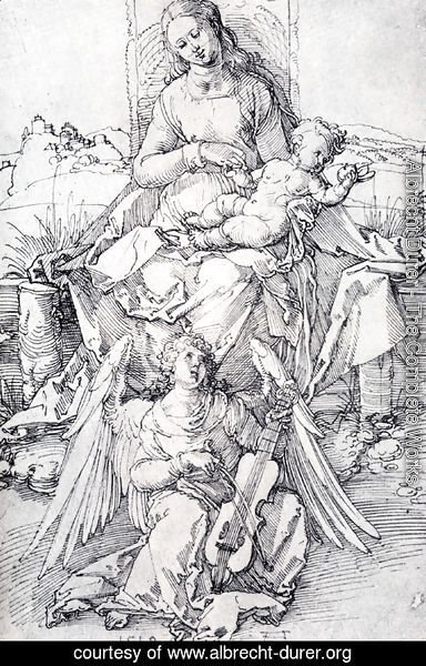 Albrecht Durer - The Madonna And Child With A Music Making Angel