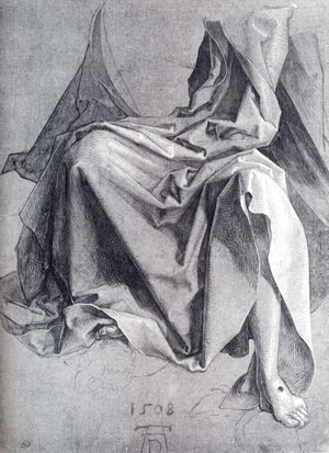 Albrecht Durer - Study Of Drapery 1508 Drawing