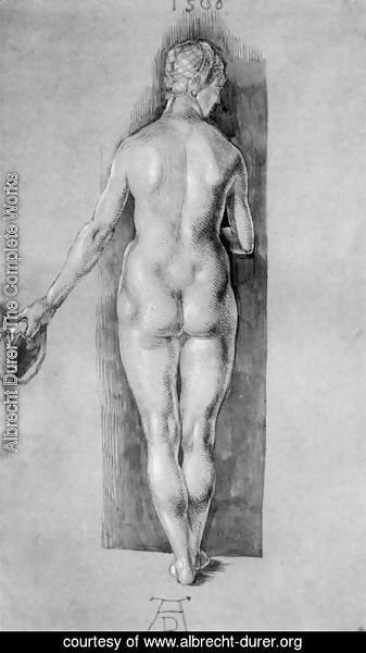 Albrecht Durer - Rear View Of A Female Nude Holding A Cap