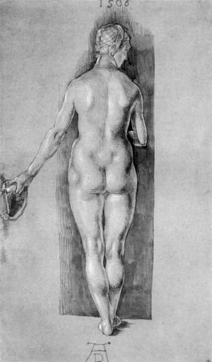Rear View Of A Female Nude Holding A Cap