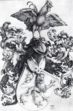 Albrecht Durer - Coat Of Arms With Lion And Rooster