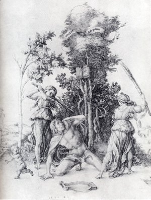 Albrecht Durer - Orpheus Slain By Bacchantes  With A Boy Running Away