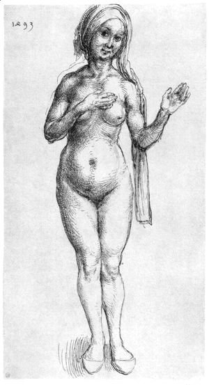 Female Nude (With Headcloth And Slippers)