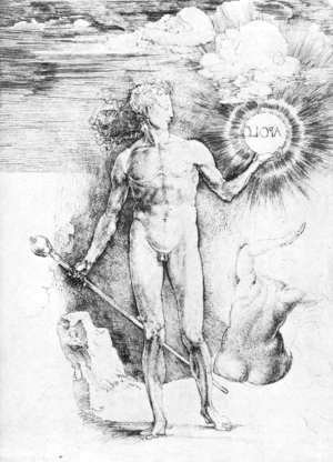 Albrecht Durer - Apollo With The Solar Disc And Diana Trying To Shield Herself From The Rays With Her Uplifted Hand