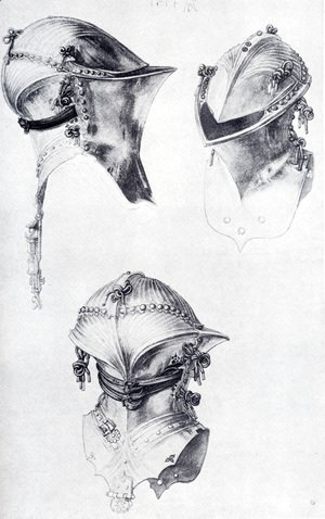 Albrecht Durer - Side  Front  And Back View Of A Helmet